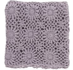 Beautiful textural knit throw blanket in heather lavender woven with a vintage inspired crochet floral pattern. Wrap yourself in its comfort or toss on your favorite chair or sofa. - 100% Acrylic - 50