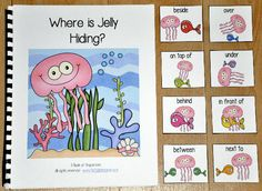 "Preposition Adapted Books focus on positional words or prepositional phrases. This book, ""Where is Jelly Hiding?"" is an ocean themed adapted book that focuses on positional words and reinforces colors and color words. Students follow silly ""Jelly"" the Jellyfish through the pages of the book as he hides among colored fish.  In this activity, the teacher or therapist reads the story as the students match positional words or preposition cards to each page. Students must identify where the…"