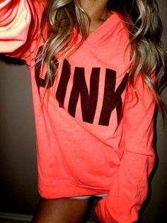 Pink by Victoria's Secret neon orange pullover lightweight hoodie sweatshirt L