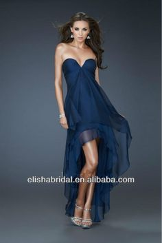 chiffon dresses short in front long on back | Atrapless Chiffon Navy Blue Front Short And Long Back Prom Dress