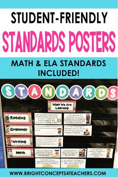 I LOVE this teacher time saver! These kid-friendly Common Core standards posters make displaying and understanding the CCSS painless and easy! Available for grades K-5. #standardsposters #timesaver #classroomideas #commoncore Beginning Of The School Year, Back To School, Math Practices Posters, Core I, Spelling Patterns, Next Generation Science Standards, Common Core Standards, Classroom Management, Classroom Decor