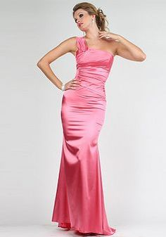 Airy Fit N Flare Long One Shoulder Natural Waist Sweep/ Brush Train Evening Gown - 1300101796B - US$110.99 - BellasDress