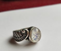 Angel Wing Feather Ring Cremation Jewelry Ashes InFused Glass Sterling Sliver 7,8