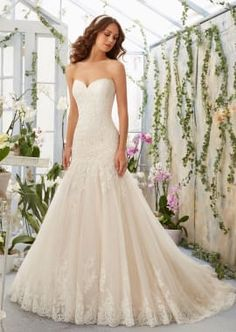 Alencon Lace Appliques on Tulle Dress with Scalloped Hemline Morilee Bridal
