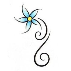 Flower Tattoos, Tattoo Designs Gallery - Unique Pictures and Ideas Blue Flower Tattoos, Simple Flower Tattoo, Simple Flowers, Blue Flowers, Simple Butterfly Drawing, Floral Tattoos, Simple Tattoo Designs, Flower Tattoo Designs, Henna Designs