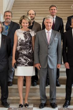 King Philippe and Queen Mathilde of Belgium host a working luncheon at Château de Laeken on 15 June 2017