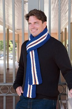 Denver Football Game Day Scarf. Free Crochet Pattern by Marly Bird