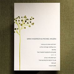 These watercolor look invitations convey a rustic yet elegant theme.