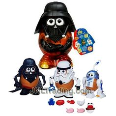 Year 2013 Mr. Potato Head Star Wars Series Set - DARTH TATER 3-CHARACTER SET with Darth Tater, Spud Trooper, Artoo-Potatoo Set Plus Potato Container with Helmet and Faceplate (Total Pieces: 30+) Mr Potato Head, Potato Heads, 3 Characters, Epic Movie, Darth Maul, Star Wars Collection, Obi Wan, Lightsaber, Hologram