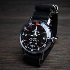 Vintage watch. Black watch men!