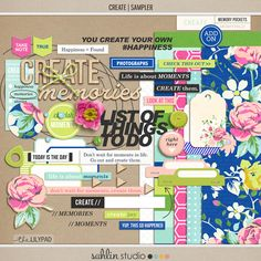 CREATE (Kit Sampler)   by Sahlin Studio  Being creative is something all us scrappers aspire to. We have pages of to do lists, challenges on deck, and piles of half done hybrids projects sitting stacked on our desks. Sound familiar? Well the good news is you don...