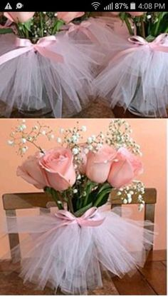 Adorable tulle tutu for your bouquet. Such a nice gesture for after . - Adorable tulle tutu for your bouquet. Such a nice gesture for after the ball … bou - Deco Baby Shower, Shower Party, Bridal Shower, Shower Gifts, Baby Shower Decorations, Wedding Decorations, Tutu Decorations, Shower Centerpieces, Girly Baby Shower Themes