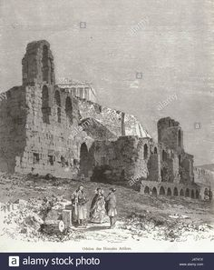 Ancient Theatre of Herodes Atticus in Athens, 1871 / old print Parthenon, Acropolis, Greek Independence, Greece Photography, Greek History, Ancient Beauty, Felder, Athens Greece, Antique Maps