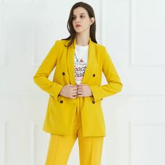 Yellow Formal Double Breasted Suit Jacket  |Price: 26.95 & FREE Shipping  #fashion#fashionblogger#womenswear#clothingbrand#womenfashion #menfashion#fashiongirl Long Kimono Cardigan, Sun Shirt, England Fashion, Printed Blazer, Tweed Blazer, Double Breasted, Street Wear, Women Wear