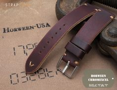 20mm, 22mm MiLTAT Horween Chromexcel Watch Strap, Burgundy Brown, Brown Stitching