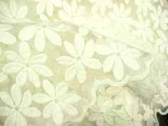 ivory lace fabric embroidered organz lace faric antique by LaceFun