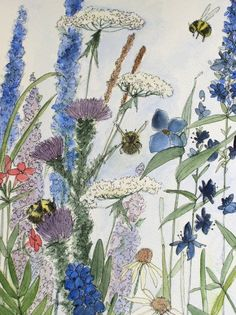 Original watercolor of garden flowers and bees by Laurie Rohner