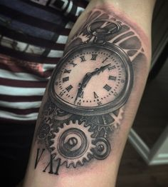Pocket watch with mechanical tattoo - 100 Awesome Watch Tattoo Designs  <3 <3