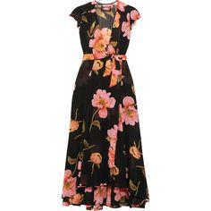 Reformation Floral-print georgette wrap dress ($285) ❤ liked on Polyvore featuring dresses, reformation, black, wrap dress, calf length dresses, flower print dress, floral wrap dress and midi dress