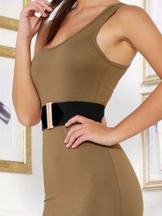 Khaki Stunning Scoop Neck Bodycon Dress