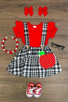 Black & White Apple Suspender Skirt Set