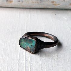 Copper Boulder Opal Ring Stone October by MidwestAlchemy on Etsy