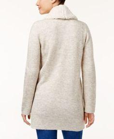 Style & Co Petite Fleece-Collar Cardigan, Created for Macy's - Tan/Beige P/XL