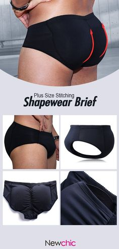 8f3c186f52 Men Plus Size Sexy Black Butt Lifting Underwear Stitching Patchwork Body  Shaper Breatahable Brief