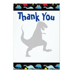 Dinosaur Birthday Invitations T Rex Dinosaur Birthday Party Thank You Cards