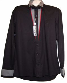 Mondo Black Red Gray Cotton Fancywork Men's Dress Button Down Shirt Size 2XL  #Mondo #ButtonFront