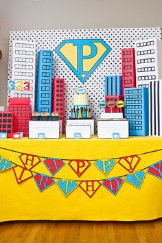 Superhero themed party by Anders Ruff for 3 year old child as photographed by Becca Bond