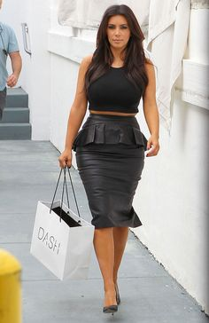 Liquid Leather Peplum pencil skirt by LysaBo on Etsy, $55.00