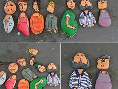 DIY Rock People // Fun creative craft activities for kids Pebble Painting, Pebble Art, Stone Painting, Rock Painting, Stone Crafts, Rock Crafts, Arts And Crafts, Kids Crafts, Art Pierre