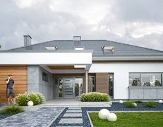 Rezydencja Parkowa 3 on Behance House Outside Design, House Front Design, Modern House Design, Home Building Design, Home Design Plans, House Plans South Africa, House Design Pictures, Modern Bungalow House, French Country House Plans