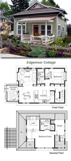 Lovely garden and paint job help to show off this little two-story cottage. Check out the floor plan. | Tiny Homes