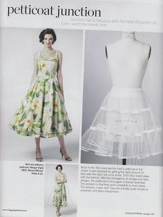 """Is there anything sadder than seeing someone who's taken the time to beautifully construct a vintage dress pattern in classic tea-length and their skirt is all limp? (Okay, I guess there are sadder things, but I'm being dramatic for the sake of the post.)  And finally Vintage Vogue acknowledges this! Their petticoat article shows a reissued 50s pattern, with and without a crinoline. And then they give you clear, step-by-step instructions for making your own. Love it!""  Read the comments…"