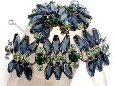 Vintage Juliana Rhinestone Bracelet Earrings Set Sapphire Blue Emerald Book Set | eBay