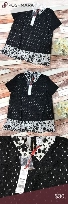 NWT Elle eyelet floral layered collared blouse Size medium. Brand new with tags! Black and white floral collar and bottom trim with a black eyelet layer over top. So beautiful! Perfect for work or back to school! Length-25, bust-18 pit to pit ***NO modeling or trades!! ::118 Elle Tops Blouses