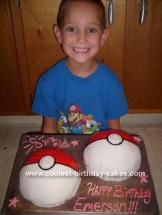 Pokemon Ball Cake: Well I tried to make a ball cake, that didn't work, it broke, so I had to make two cakes, half balls. I iced each cake with homemade buttercream icing,