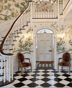 Lovely stairs and really like the wallpaper going up the stairs