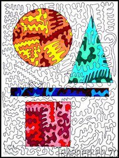 Durf je Belgisch te tekenen? Dit is een mooie tekenopdracht van de blog tekenenenzo.blogspot.be. Kies een hoek waarin je langste lijn begint. Teken een lijn met hoeken, bochten, punten enz. Teken het hele papier vol en neem je pen niet van het papier af. De lijn mag zichzelf nergens raken of doorkruisen én hij moet eindigen op het punt waar hij begon. Daarna teken je met potlood enkele geometrische vormen. Kleur deze vlakken in met drie kleuren per vlak.