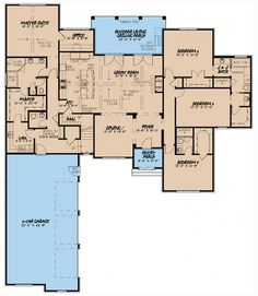 4 Bed Euro-Style with Courtyard Entry Garage - floor plan - Main Level Stone House Plans, Dream House Plans, House Floor Plans, The Plan, How To Plan, Plan Plan, European Plan, European Style Homes, Courtyard Entry