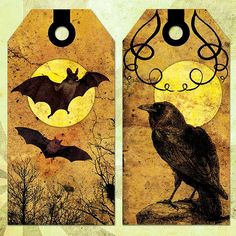 VICTORIAN GOTHIC HALLOWEEN TAGS Hang Tags Gift Tags PLUS BOOKMARK Digital Collage Sheet - 0083 photo by rowantreedesign