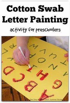 Learning to Write the Alphabet with Cotton Swab Painting Teaching children to write letters and numbers does not always require a pencil or other writing tool. We use paint and paint brushes for a fun alternative to learning to write! Even my second child Preschool Learning Activities, Preschool At Home, Preschool Classroom, Preschool Crafts, Preschool Letters, Preschool Painting, Painting Activities, Teaching Toddlers Letters, Fun Activities For Preschoolers