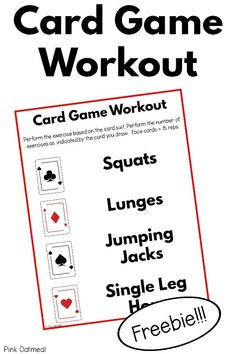 A fun FREE printable for brain breaks or getting in movement. This game is great for all ages. I love how you only need a deck of cards! Use for gross motor time, a classroom brain break, therapy sessions, daycare centers or at home. Fine Motor Activities For Kids, Sensory Activities, Therapy Activities, Sensory Play, Therapy Ideas, Yoga For Kids, Exercise For Kids, Printable Workouts, Free Printable