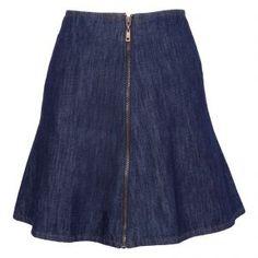 Saia jeans evasê zíper MOB - azul