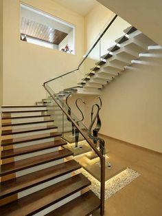 Usine Studio : Architects   Interior Designer   Project Consultants - Vadodara, Gujarat. India Interior Stairs, Home Interior Design, Interior Designing, Modern Staircase, Staircase Design, Terraced Patio Ideas, Wall Design, House Design, Steps Design