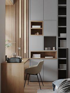 Study Room Design, Home Room Design, Living Room Designs, House Design, Modern Study Rooms, Modern Bedroom, Office Interior Design, Office Interiors, Apartment Interior