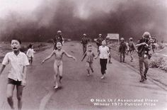 The Terror of War by Huynh Cong Ut, 1973. A naked girl runs with a group of other children after the napalm bombing of a Vietnamese village. She survived by removing her clothes. This was one of the many award-winning images that brought the atrocity of the war into Americans' homes.