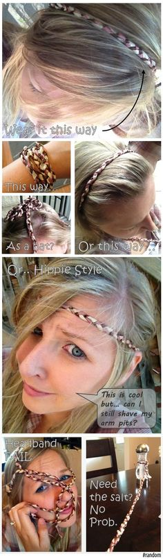 DIY Hippie Headband Fun! Made from ribbon picked up at the dollar store.